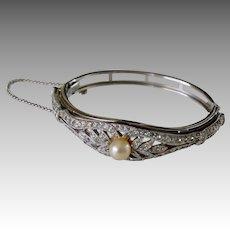 Rhinestone Encrusted Silver Faux Pearl Evening Bracelet