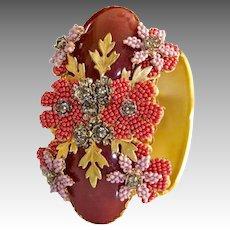 Stanley Hagler Ornate Gold Plated Jeweled Medallion Bracelet
