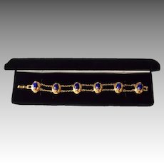 12K Gold Plate Egyptian Revival Style Blue Glass Medallion Dual Like Bracelet