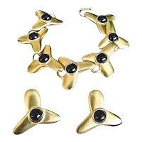 Robert Lee Morris 24K Gold Plate Onyx Bracelet Earring Designer Set