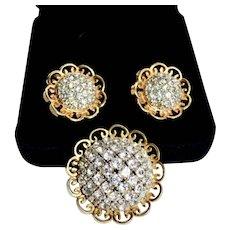 Vintage Elsa Schiaparelli Rhinestone Dome Cluster Brooch / Earring Set
