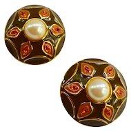 Guy-Laroche Paris 14k Gold Plate French Enamel Crystal Faux Pearl Earrings