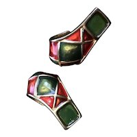 Karl Lagerfeld Earrings Harlequin Gold Plate French Enamel J-Hook Clip Designer