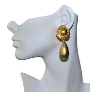 Karl Lagerfeld Earrings Gold Plate Diva Glass Pearl Dangle Designer Clips