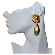Karl Lagerfeld Earrings Gold Plate Diva Glass Pearl Dangle Designer Clips