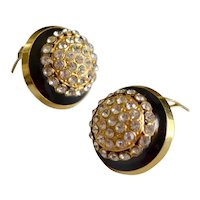 Designer VALENTINO Crystal Black Enamel Gold Plated Earrings