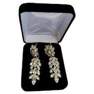 Earrings Dangle Judith McCann Rhinestone Navette Hollywood 1950's Chandelier