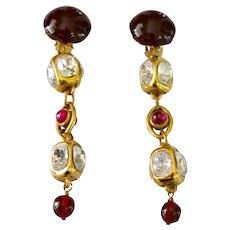 Vintage CHANEL Earrings 12K Gold Plate Gripoix Glass Chandelier Dangle Clip Style