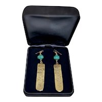 Asian 14K Gold Filled Turquoise / Brass Embossed Dangle Earrings