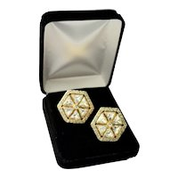 Valentino Gold Plated Hexagon Shaped Swarovski Crystal Designer Earrings