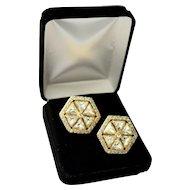 Valentino Gold Plated Hexagon Shaped Swarovski Crystal Designer Earrings