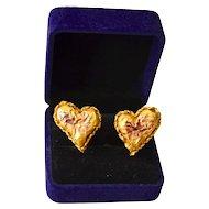 Christian Lacroix 18K Gold Plate Old World Baroque Designer Earrings