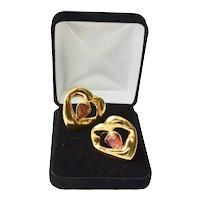 Designer YSL 18K Gold Plate Gripoix Glass Heart Shape Clip Earrings
