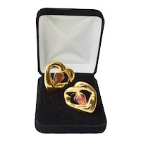 Designer YSL 18K Gold Plate High Polish Crystal Clip Earrings