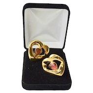 Designer YSL 18K Gold Plate High Polish Crystal Clip Earrings