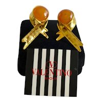 Valentino Earrings 18K Gold Plate Gripoix Ribbon Style Italy Signed