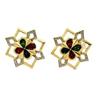 Nina Ricci Large Swarvoski Colored Crystals Gold Plate Clip Earrings