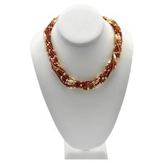 Murano Necklace Multi-Colored Strands Torsade Twist Crystal Beads
