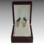 Black Silver Leaf Enamel Earrings With Rhinestones