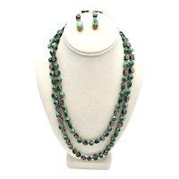 Venetian Glass Millefiori Beaded  23-Inch Rope Strand Necklace / Earrings