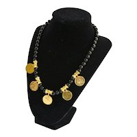 1970's Coin Necklace 22K Gold Plate Mediterranean Onyx Collection Mint