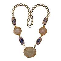 Asian Art Deco Style Rose Quartz Crystal Medallion Cloisonne Brass Necklace