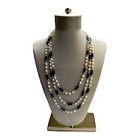 """Onyx Opera Necklace Freshwater Cultured Pearls Modernist 70"""" Single Strand"""