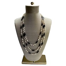 "Onyx Necklace Freshwater Pearls Modernist 70"" Sterling Opera Strand"