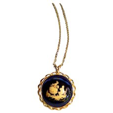 Vintage French 22Kt Gold Plate Enamel Porcelain Pendant Necklace