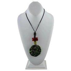 Vintage TibetianPierced Green Jadeite Dragon Pendant Necklace Wax Cord
