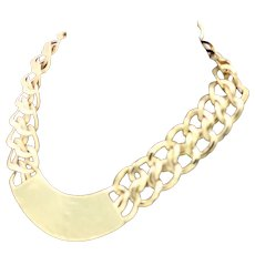 Double Link 12K Gold Plate Choker Necklace Hammered Front Panel