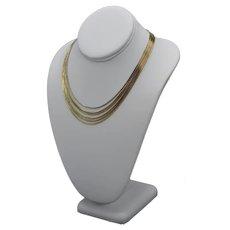 Vintage 14K Gold Plate Slinky Byzantine (6) Multi-Chain Necklace