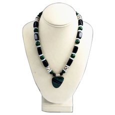 Chunky Sterling Silver Beaded Malachite Onyx Artisan Necklace Pendant Mexico