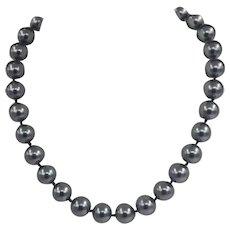 Vintage Classic 12mm Hematite Jumbo Beaded Necklace