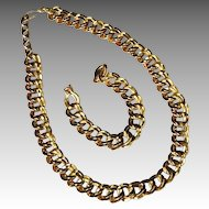 Chunky Monet 14K Gold Plate Double Link Chain Necklace & Bracelet