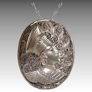 Sterling Silver Filigree Metalwork Portrait Pendant Necklace