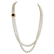 Elegant Swarovski Double Strand Glass Faux Pearl Opera Necklace / Earrings