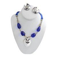 Rock Crystal Designer Robert Lee Morris Sterling Cobalt Pendant Necklace Set