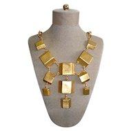Kenneth Jay Lane Necklace Modernist 10K Gold Plate Bib 2-Pairs Designer Set