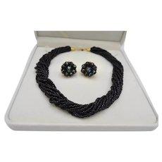 Trifari Glass Bead Torsade Necklace Confetti Glass Earring