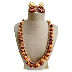 Designer Costume Set by Kenneth J. Lane Rich Faux-Tortoise Bauble Necklace / Clip Earrings