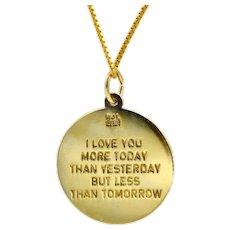 Les Vieux French Love Poem Sterling 14K Gold Vermeil Pendant Necklace
