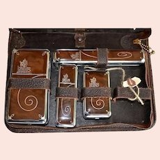 "Mens ""Old West"" Collectible Leather & Chrome Zippered Travel Case Vintage"