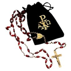 Catholic Rosary Ruby Red Crystal Decade Prayer Beads Vintage 1940's