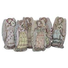 Vintage Handmade Christmas Folk Art Cloth Musical Angels (6) Decor