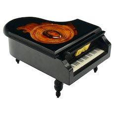 Classical Chopin Black Lacquerware Piano Music Box Marquetry Inlaid