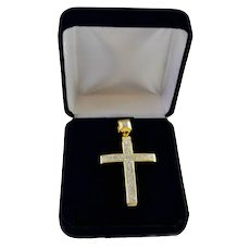 Estate Unisex 1.35 Carat Diamond Pave Cross Setting 10K Yellow / Sterling Silver