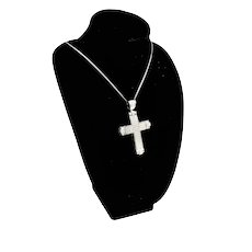 Diamond 1 Ct Pave 10K Gold Sterling Silver 10K Cross Pendant 20 Grams