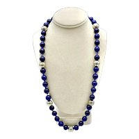 Chinese Cobalt Blue Peking Glass Beads Knotted Sterling Silver Single Strand Necklace
