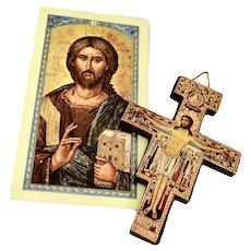 Pair Catholic San Damiano Byzantine Gilt Wood Crosses Italy